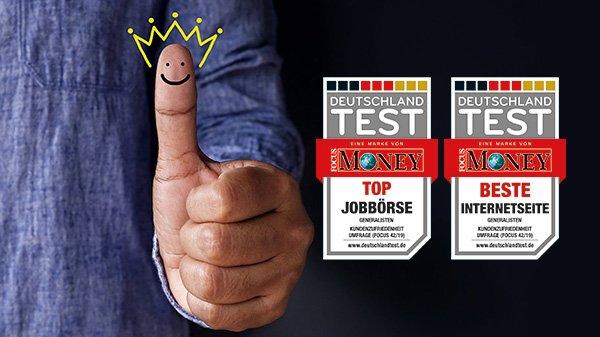 """FOCUS DEUTSCHLAND TEST: Jobs.de ist """"Top Jobbörse"""" mit """"Bester Internetseite"""""""